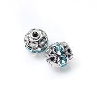 【メール便対応可】丸ロンデルブルー6×6mmロジウムカラーメッキ5個セット(1.0mm穴)-003