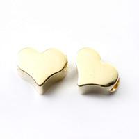 【メール便対応可】メタルパーツ・ハート4×5mmK14ゴールドメッキ(1.0mm穴)-003