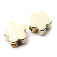 【メール便対応可】メタルパーツ・花6×6mmK14ゴールドメッキ(1.0mm穴)-006