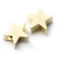 【メール便対応可】メタルパーツ・星6×6mmK14ゴールドメッキ(1.0mm穴)-007