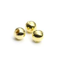 【メール便対応可】メタルビーズ3mmゴールドカラーメッキ10個セット(1.0mm穴)-004