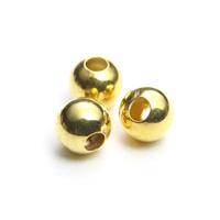 【メール便対応可】メタルビーズ4mmゴールドカラーメッキ10個セット(1.0mm穴)-005