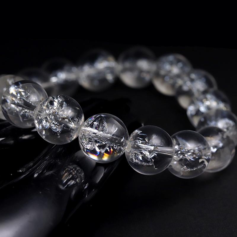 レインボー水晶(エレクトリックアイリスクォーツ)11.5〜12mmブレスレット-001