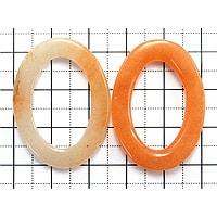 【メール便対応可】オレンジクォーツァイトオーバルプレート35×25×5mm(0.8mm穴)