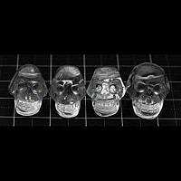 【メール便対応可】水晶手彫りドクロ15×11×11mm(0.8mm穴)