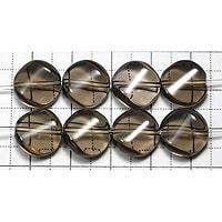 【メール便対応可】スモーキークォーツツイストコインカット12mm(1.0mm穴)