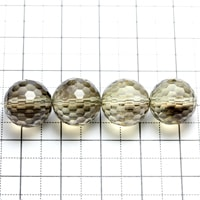 【メール便対応可】スモーキーレモンクォーツ128面カット11.5〜12mm(1.0mm穴)