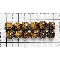 【ゆうパケット対応可】タイガーアイ蓮の花カット7mm(1.0mm穴)