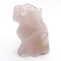 """"""" .ローズクォーツ十二支(干支)・戌(いぬ)彫り物-014. """""""