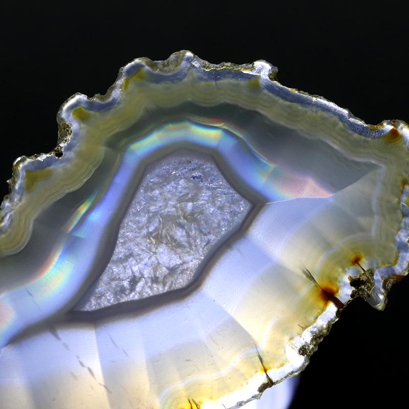 魅惑!虹色の輝き!極上厳選インドネシア産イリスアゲートスライス-004