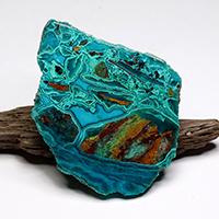 アリゾナ産クリソコラ原石磨きプレート-035
